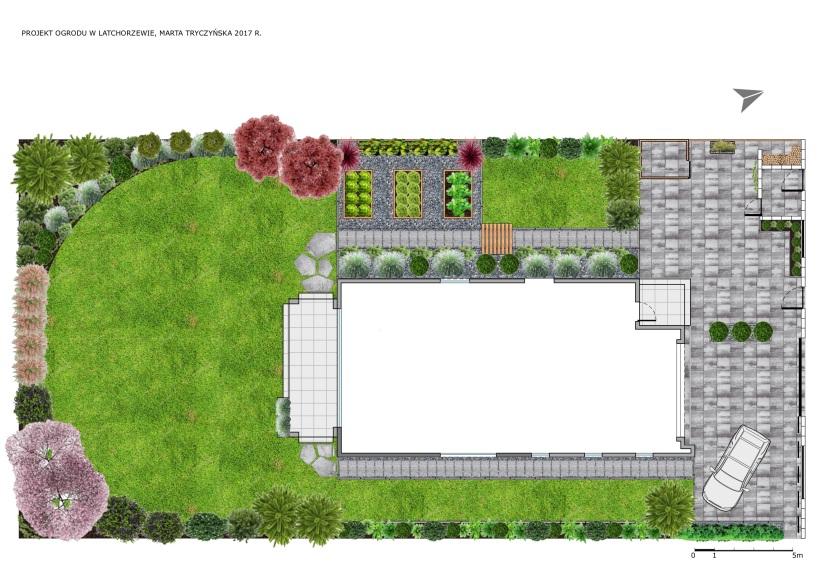 Projekt ogrodu z domem jednorodzinnym Warszawa